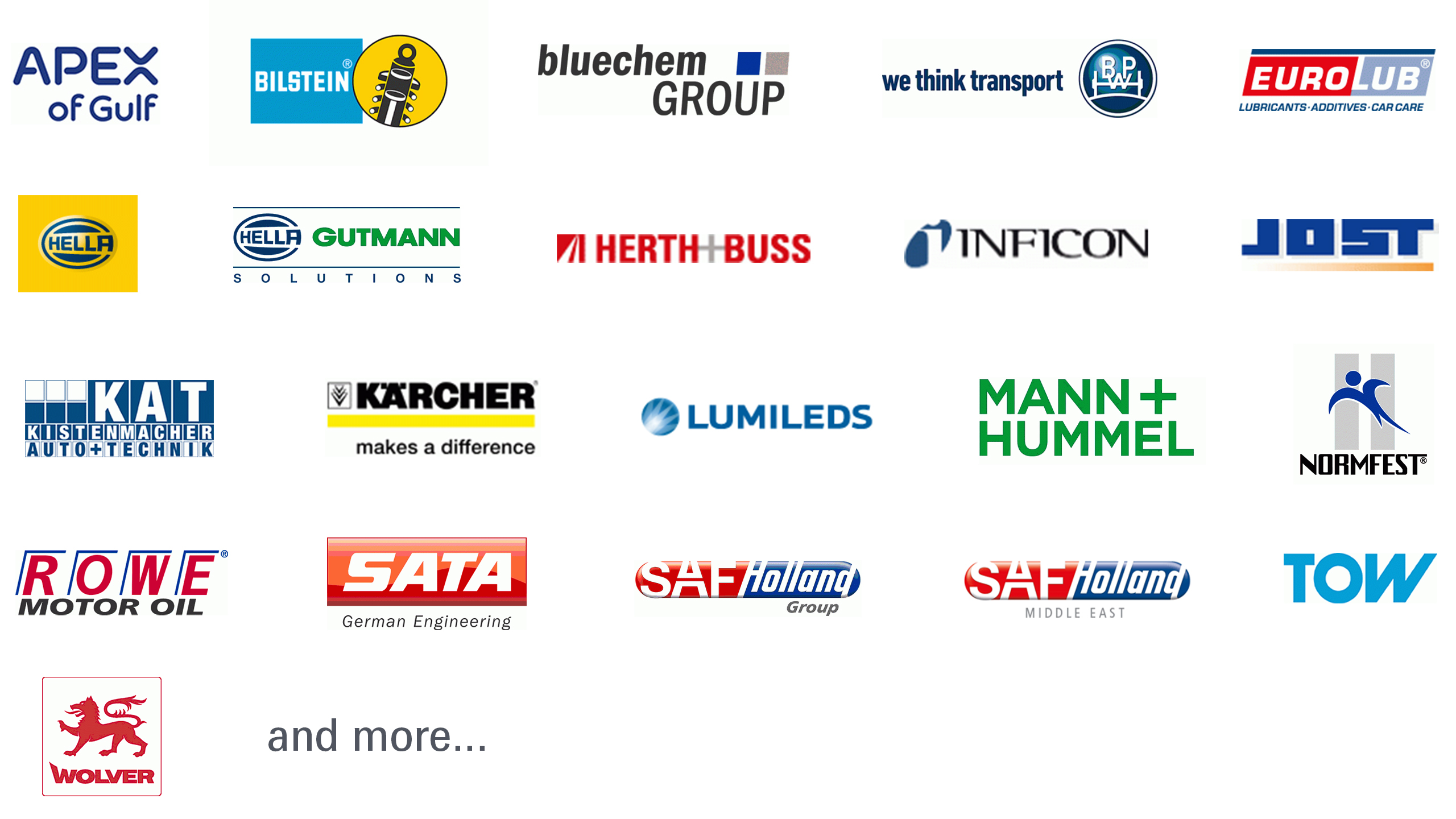 Automechanika Dubai Germany Pavilion exhibitor logo collage
