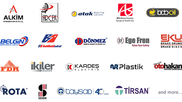 Automechanika Dubai Turkish Pavilion exhibitor logo collage