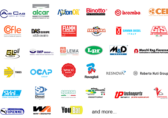 Automechanika Dubai Italian Pavilion exhibitor logo collage
